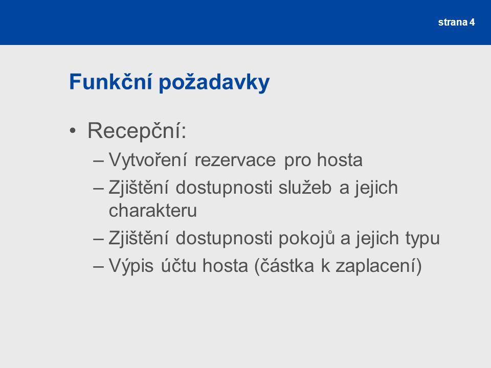 Funkční požadavky Recepční: Vytvoření rezervace pro hosta