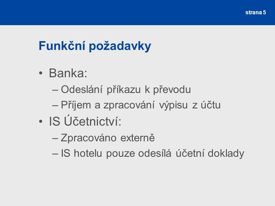 Funkční požadavky Banka: IS Účetnictví: Odeslání příkazu k převodu