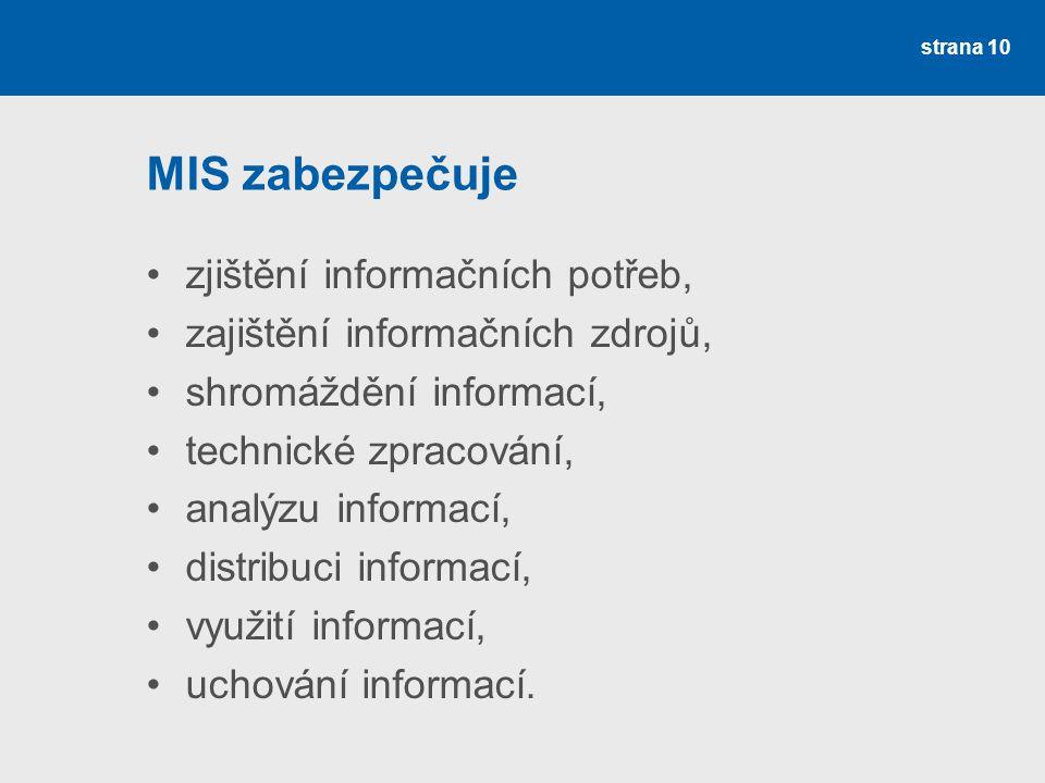 MIS zabezpečuje zjištění informačních potřeb,