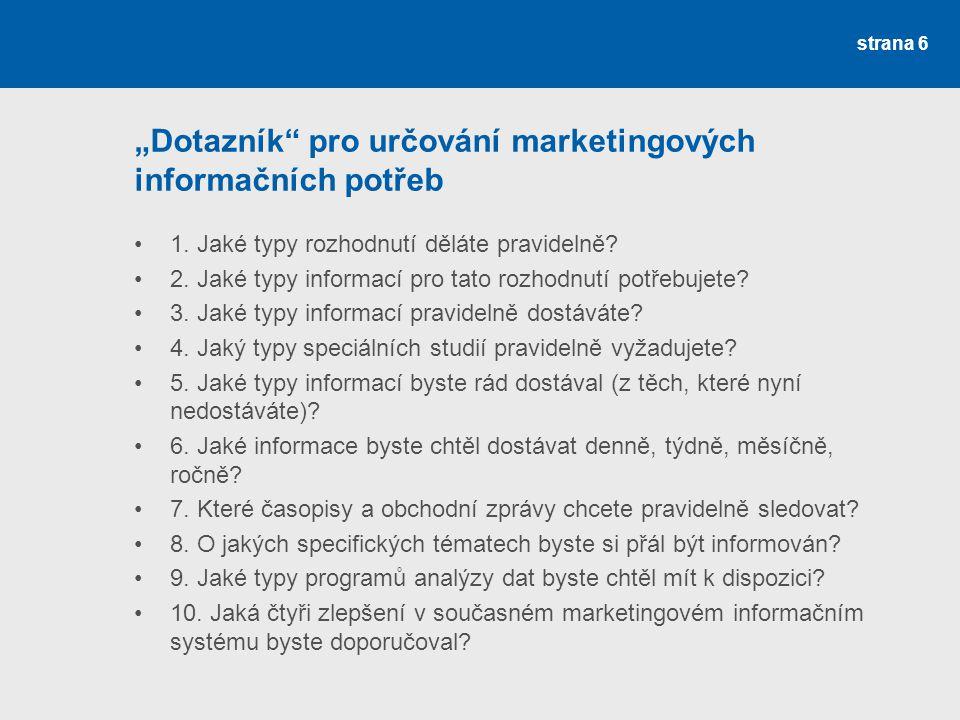 """""""Dotazník pro určování marketingových informačních potřeb"""