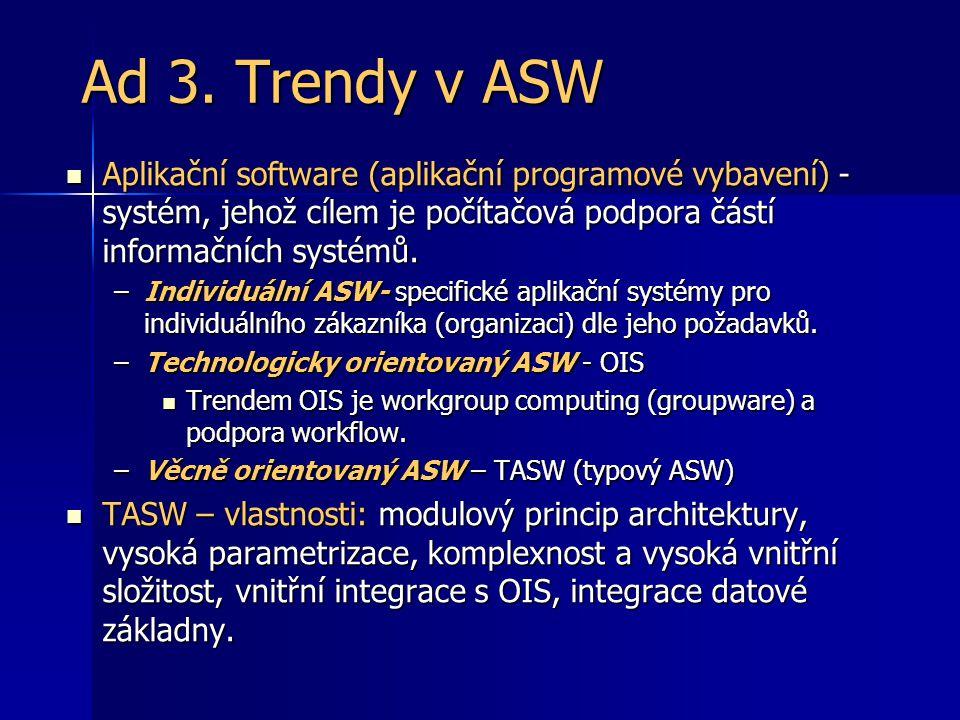 Ad 3. Trendy v ASW Aplikační software (aplikační programové vybavení) - systém, jehož cílem je počítačová podpora částí informačních systémů.