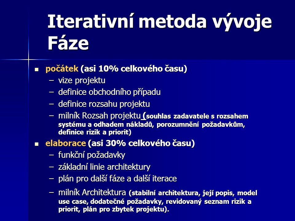 Iterativní metoda vývoje Fáze