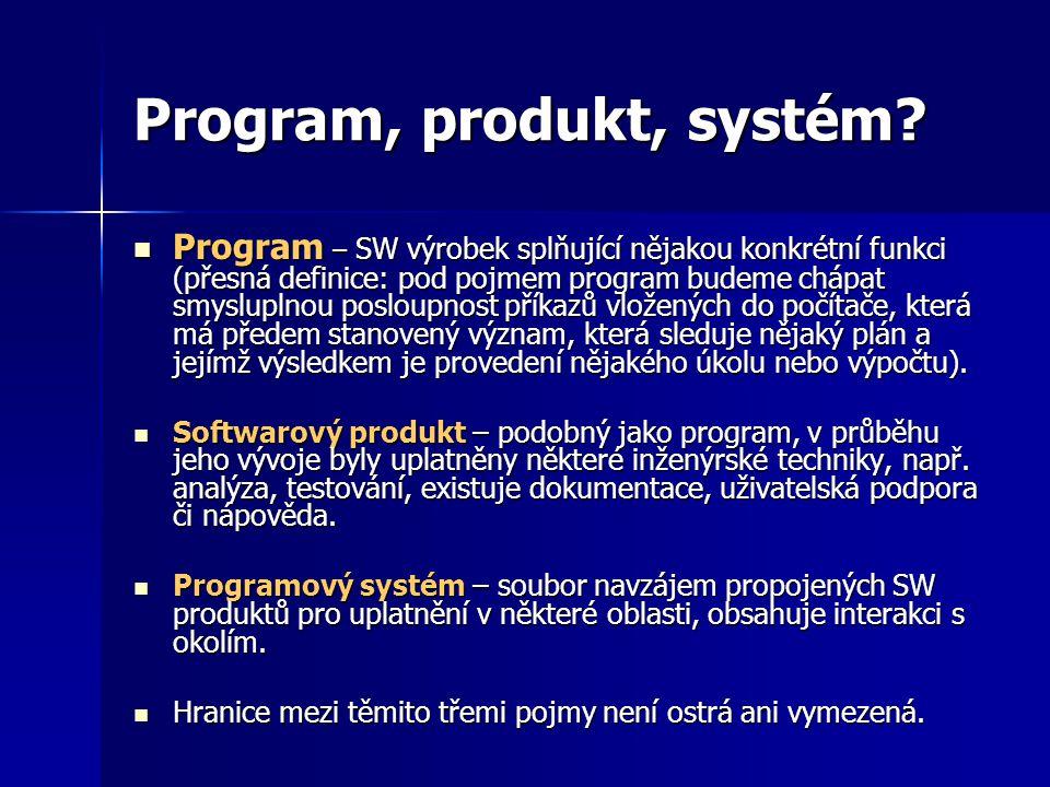 Program, produkt, systém