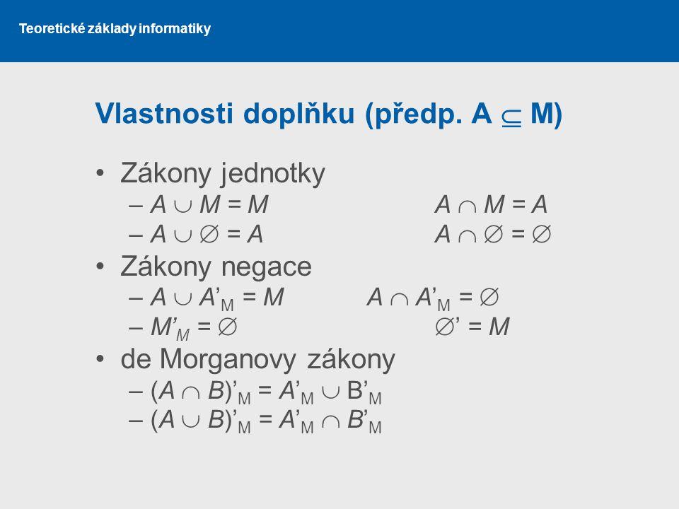 Vlastnosti doplňku (předp. A  M)