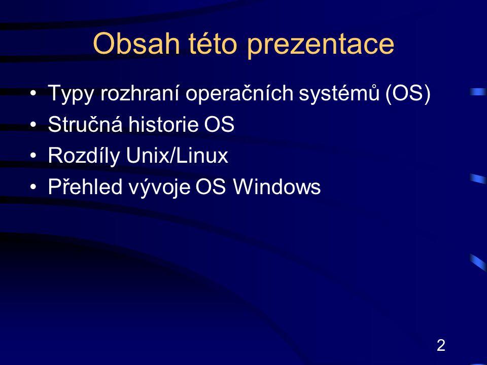Obsah této prezentace Typy rozhraní operačních systémů (OS)