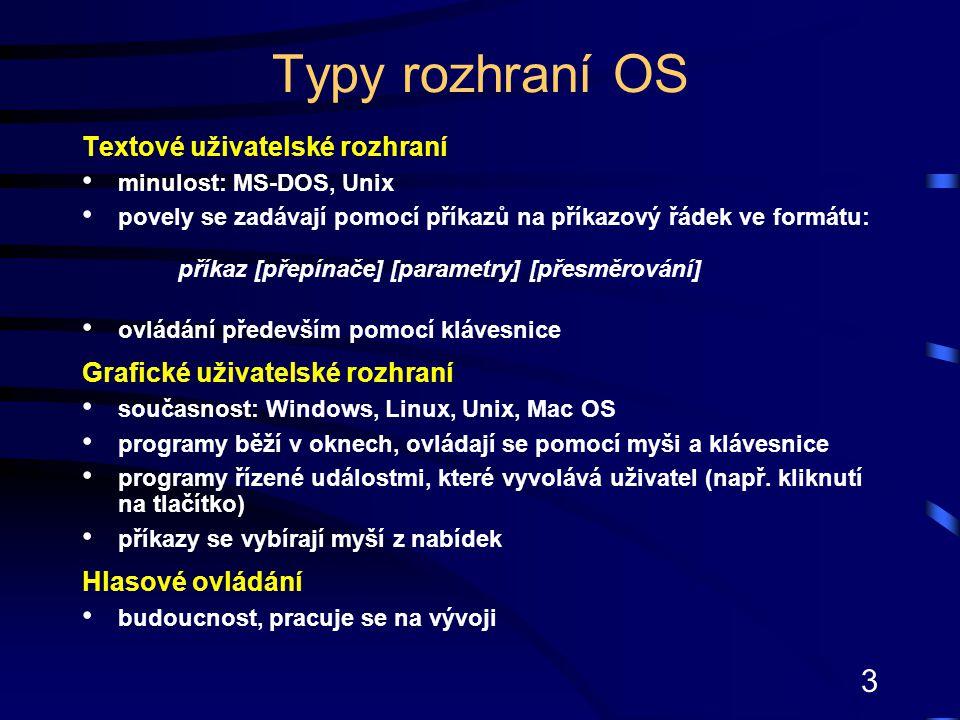Typy rozhraní OS Textové uživatelské rozhraní