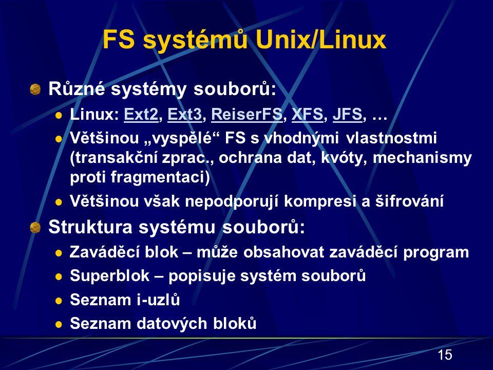 FS systémů Unix/Linux Různé systémy souborů: