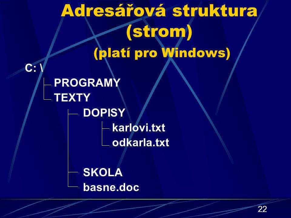 Adresářová struktura (strom) (platí pro Windows)