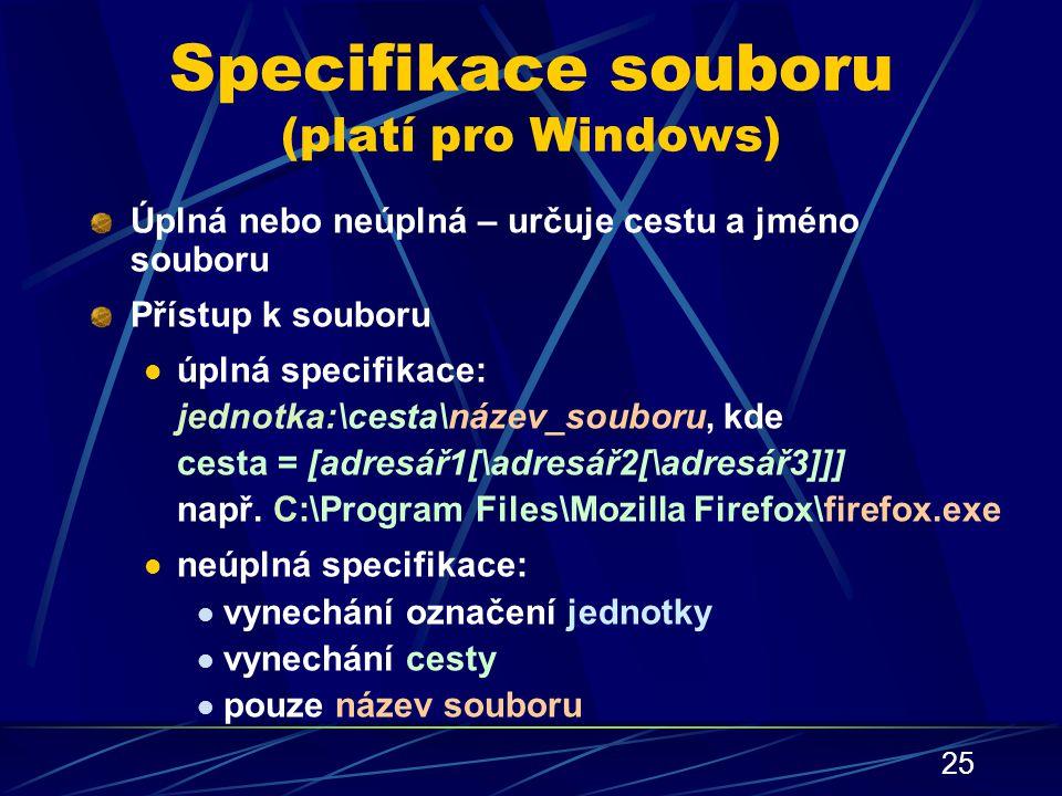 Specifikace souboru (platí pro Windows)