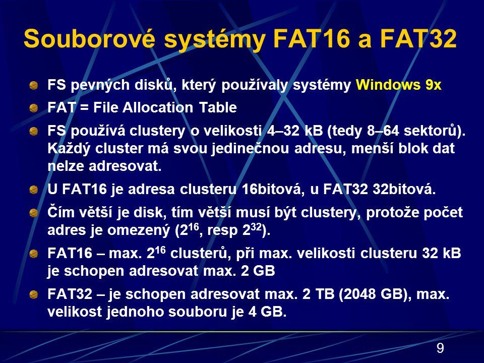 Souborové systémy FAT16 a FAT32
