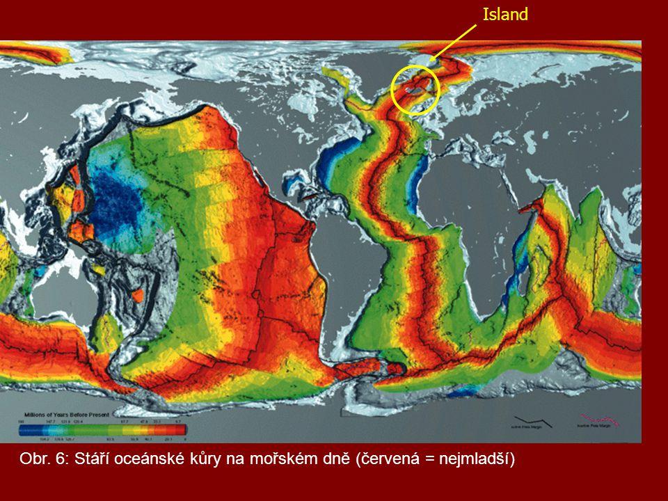 Island Obr. 6: Stáří oceánské kůry na mořském dně (červená = nejmladší)