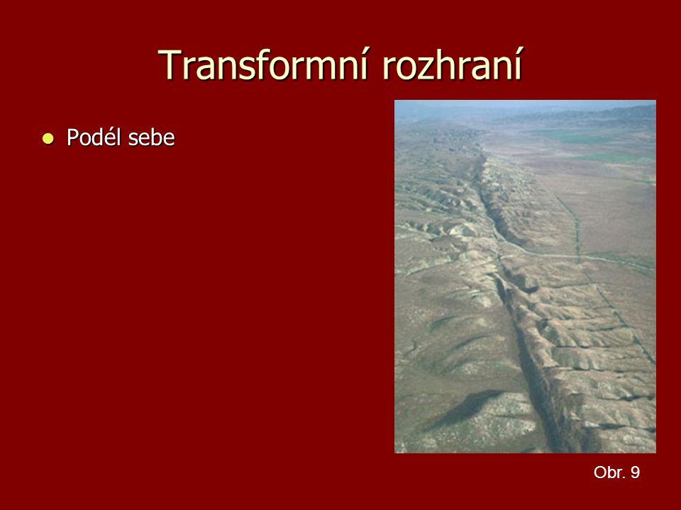 Transformní rozhraní Podél sebe Obr. 9