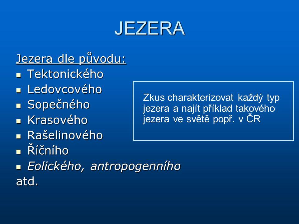 JEZERA Jezera dle původu: Tektonického Ledovcového Sopečného Krasového