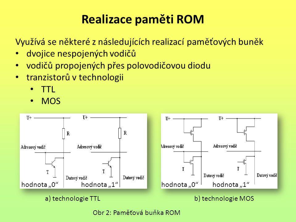 Realizace paměti ROM Využívá se některé z následujících realizací paměťových buněk. dvojice nespojených vodičů.