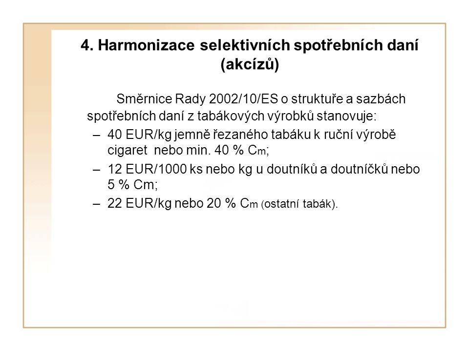 4. Harmonizace selektivních spotřebních daní (akcízů)