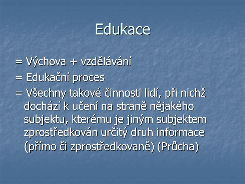 Edukace = Výchova + vzdělávání = Edukační proces