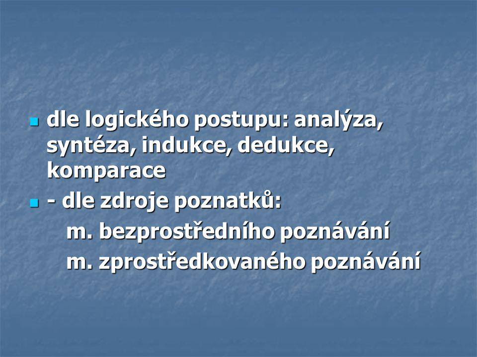 dle logického postupu: analýza, syntéza, indukce, dedukce, komparace