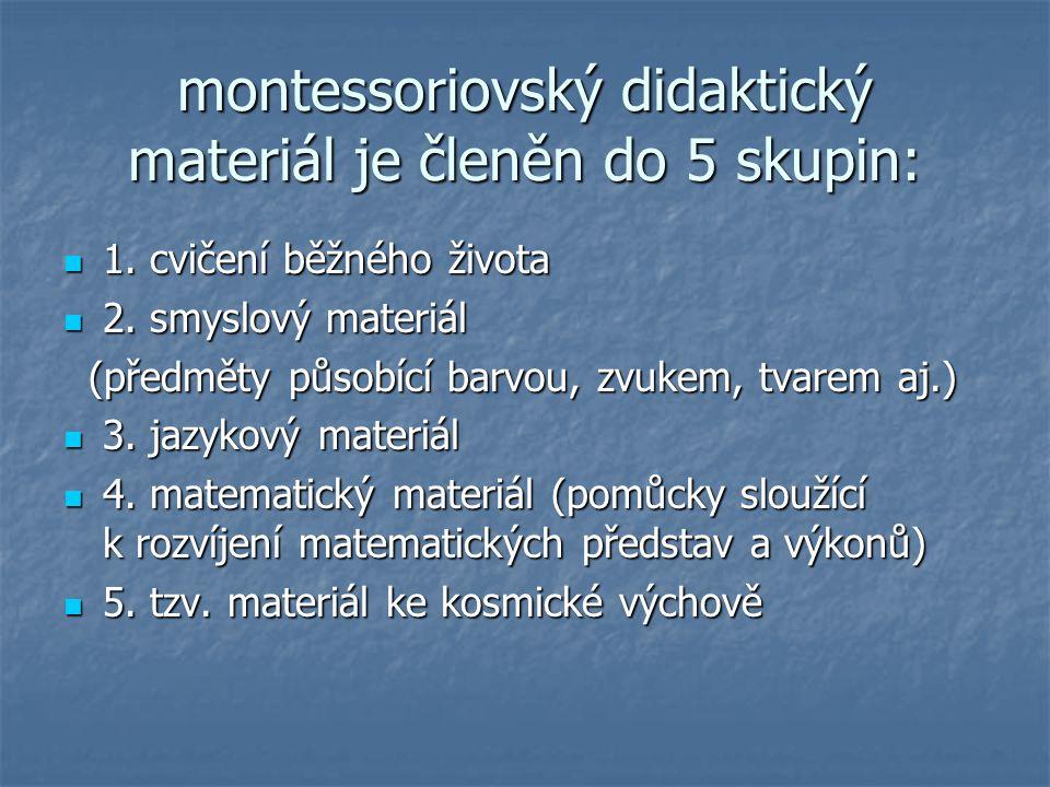 montessoriovský didaktický materiál je členěn do 5 skupin: