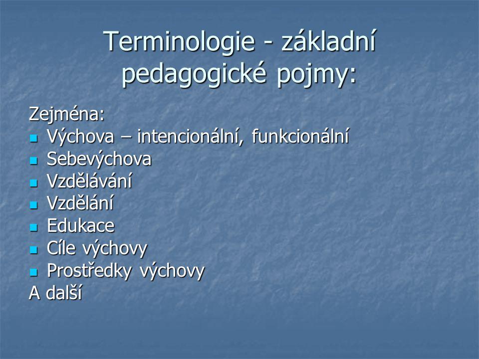 Terminologie - základní pedagogické pojmy: