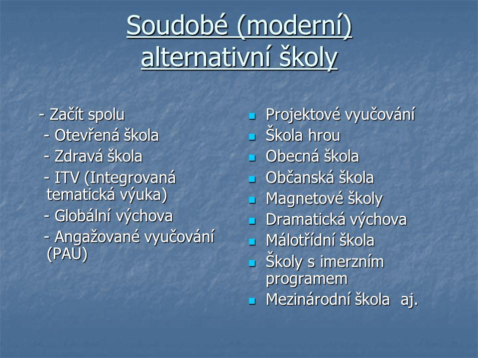 Soudobé (moderní) alternativní školy
