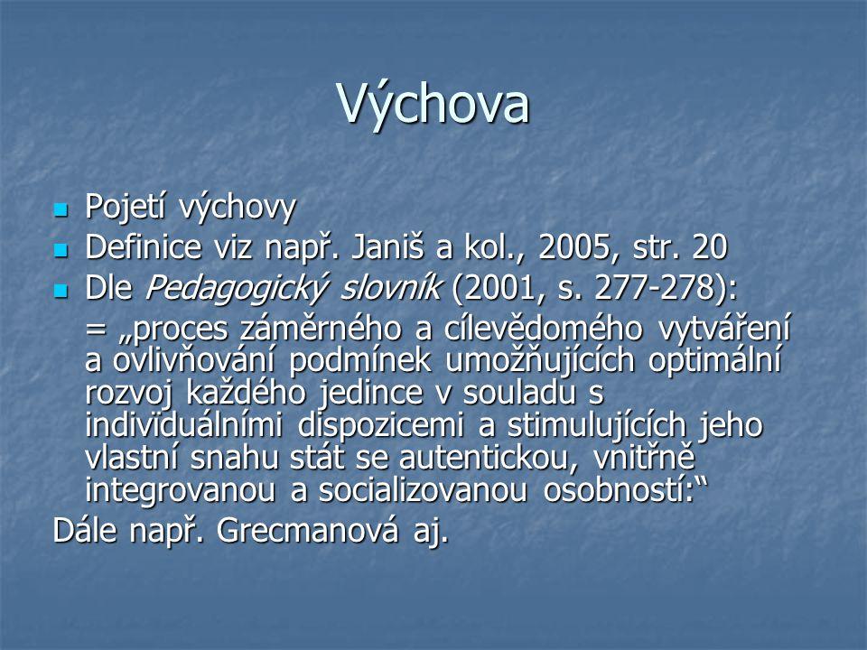 Výchova Pojetí výchovy Definice viz např. Janiš a kol., 2005, str. 20