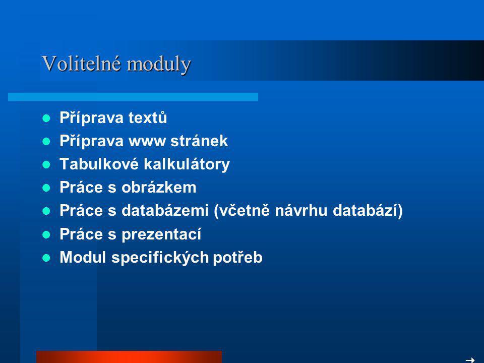 Volitelné moduly Příprava textů Příprava www stránek
