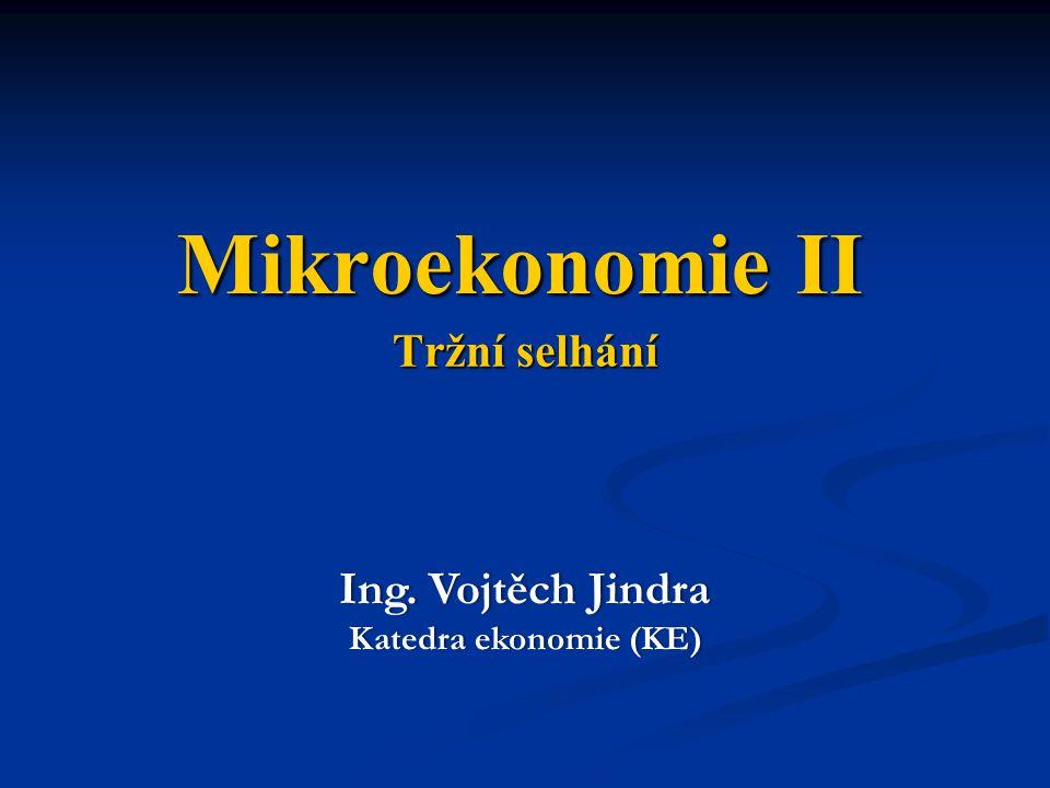 Mikroekonomie II Tržní selhání Ing. Vojtěch Jindra