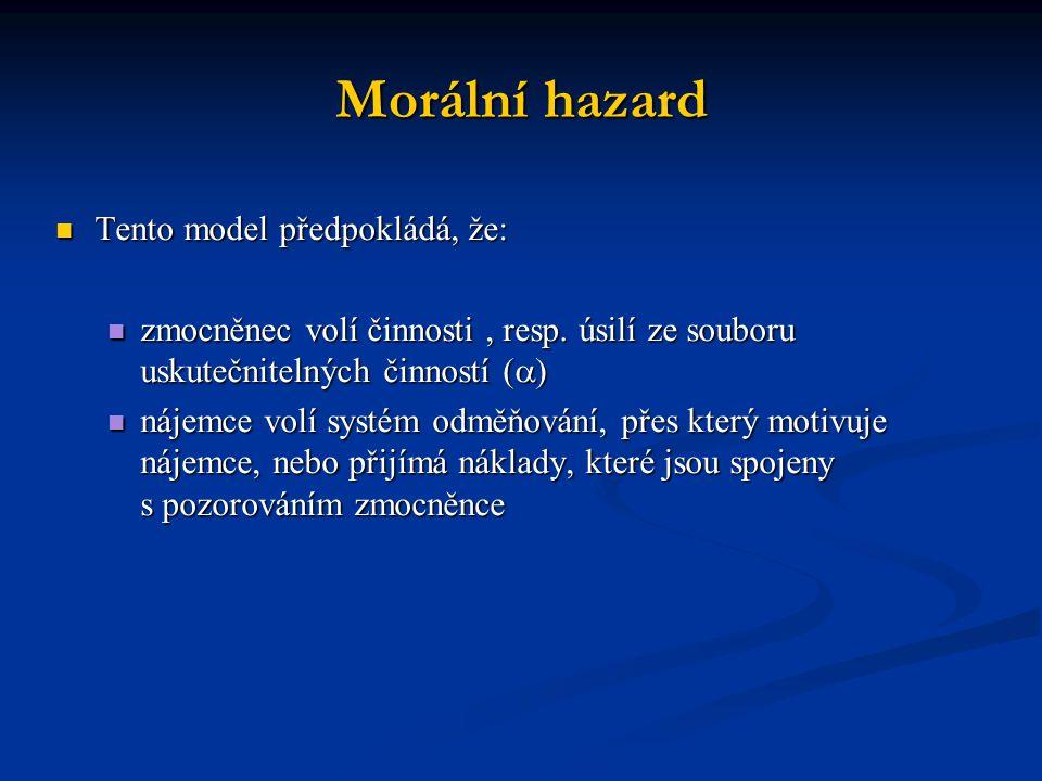 Morální hazard Tento model předpokládá, že: