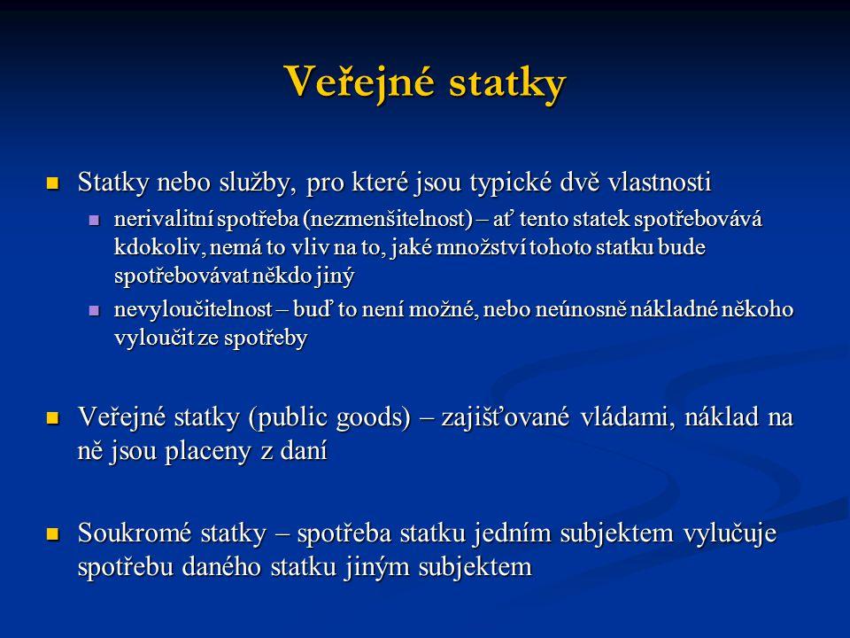Veřejné statky Statky nebo služby, pro které jsou typické dvě vlastnosti.