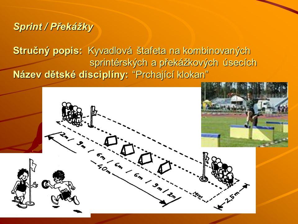 Sprint / Překážky Stručný popis: Kyvadlová štafeta na kombinovaných sprintérských a překážkových úsecích Název dětské disciplíny: Prchající klokan