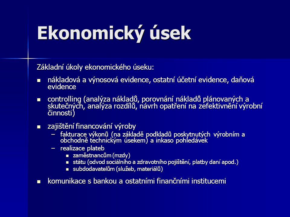 Ekonomický úsek Základní úkoly ekonomického úseku: