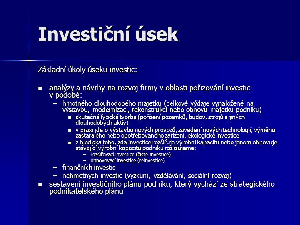 Investiční úsek Základní úkoly úseku investic: