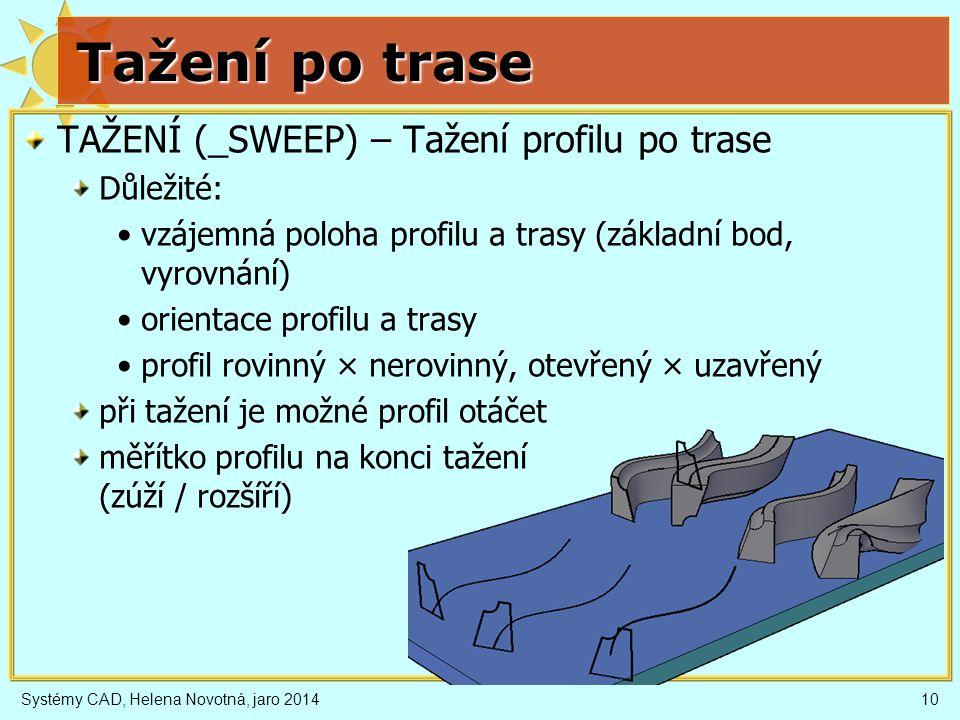 Tažení po trase TAŽENÍ (_SWEEP) – Tažení profilu po trase Důležité: