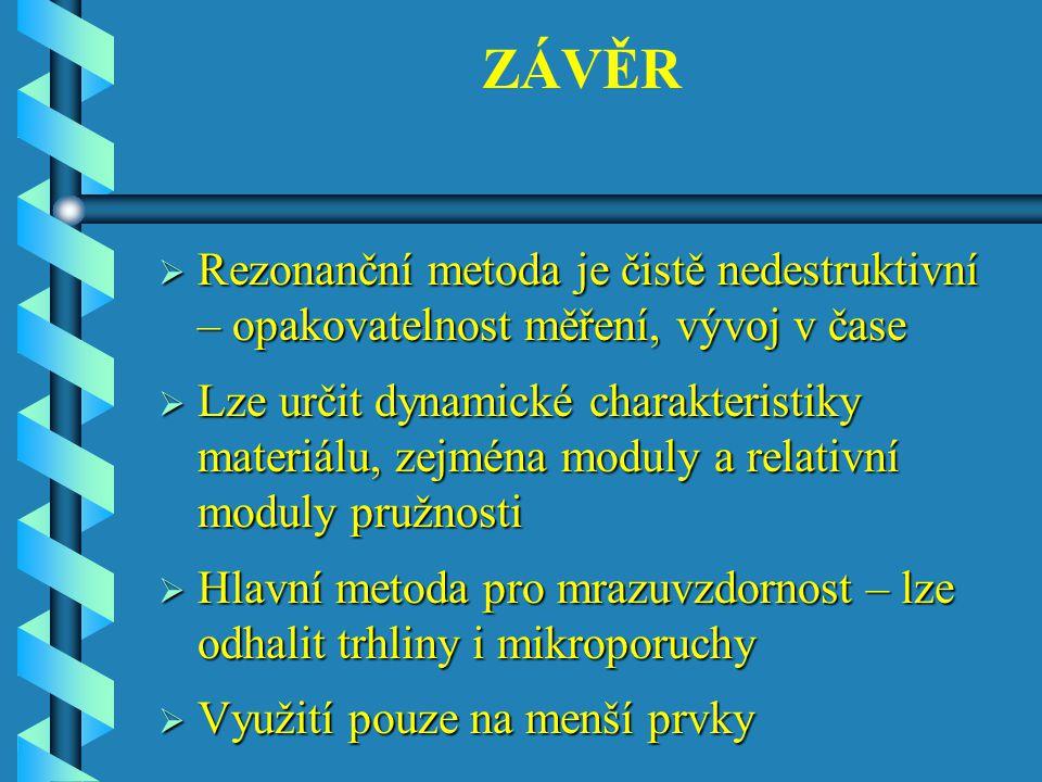 ZÁVĚR Rezonanční metoda je čistě nedestruktivní – opakovatelnost měření, vývoj v čase.