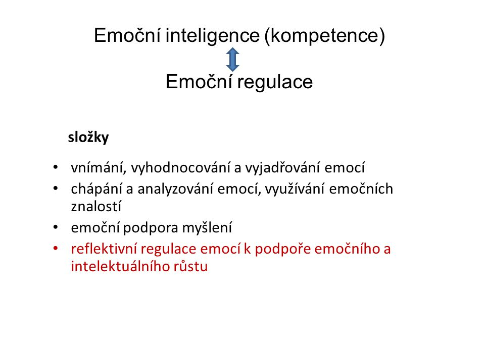 Emoční inteligence (kompetence) Emoční regulace