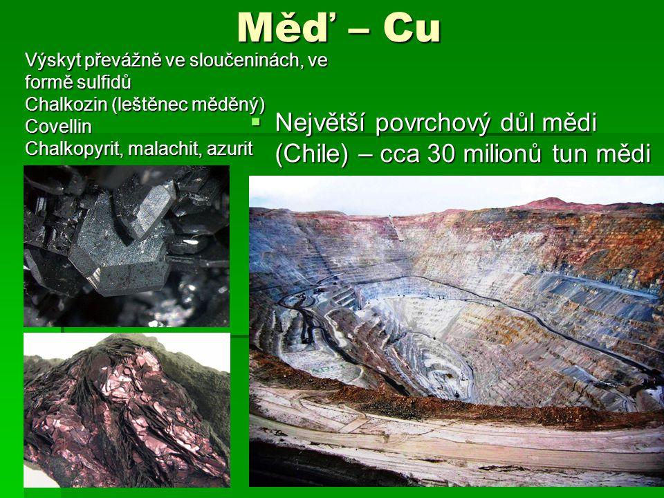Měď – Cu Největší povrchový důl mědi (Chile) – cca 30 milionů tun mědi