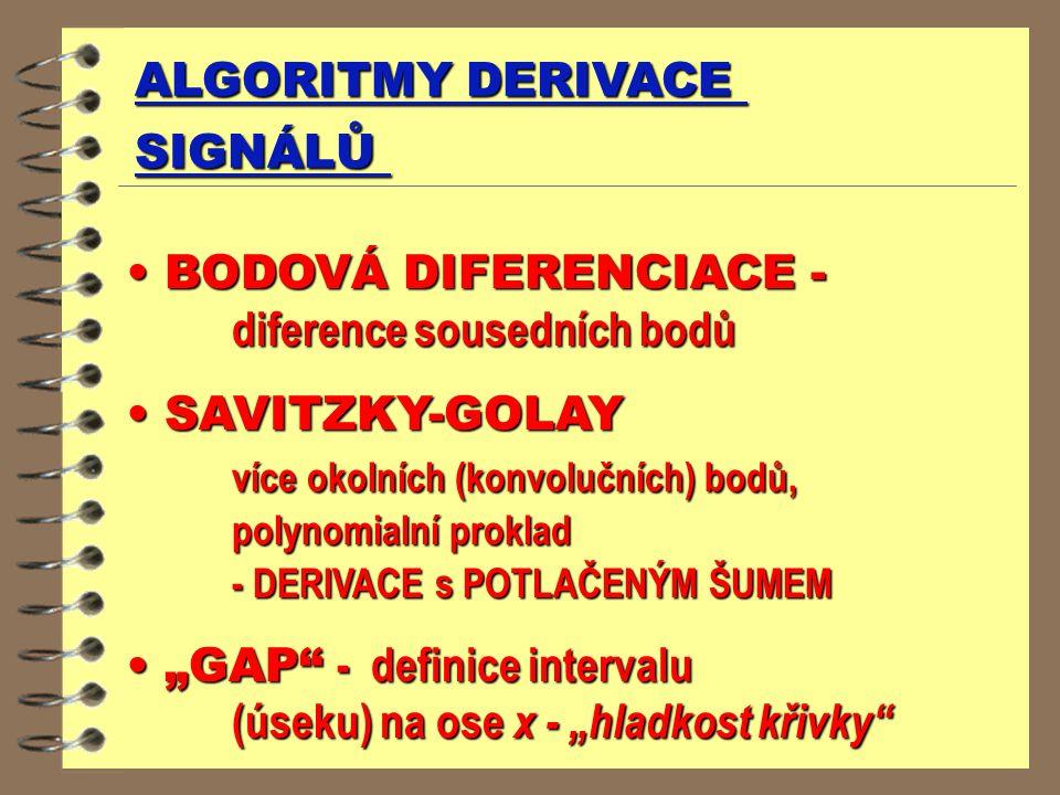 BODOVÁ DIFERENCIACE - diference sousedních bodů SAVITZKY-GOLAY