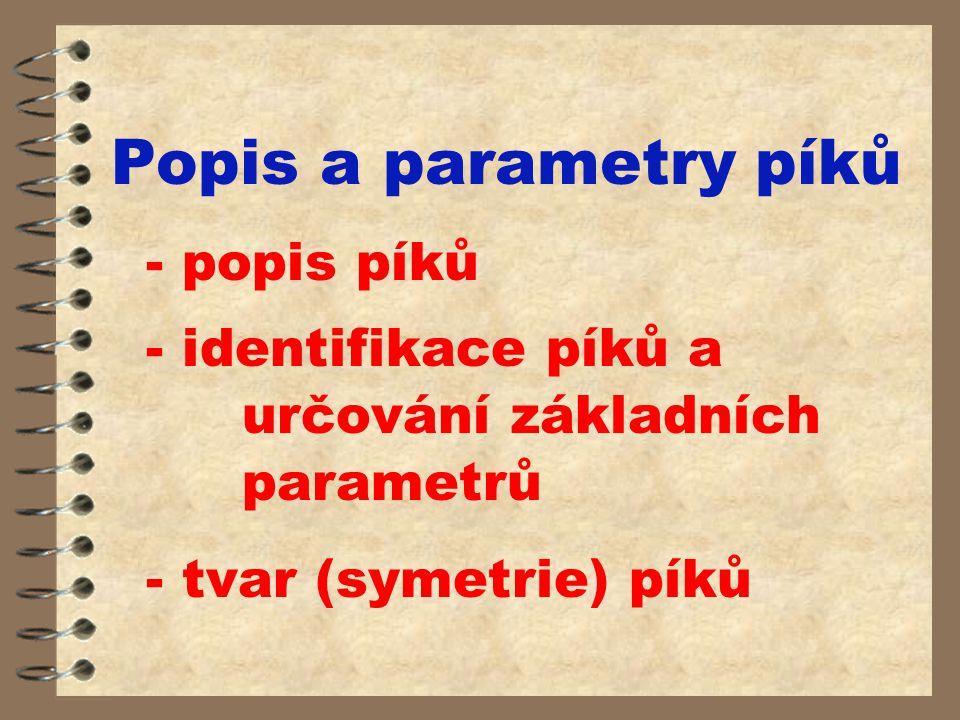 Popis a parametry píků - popis píků