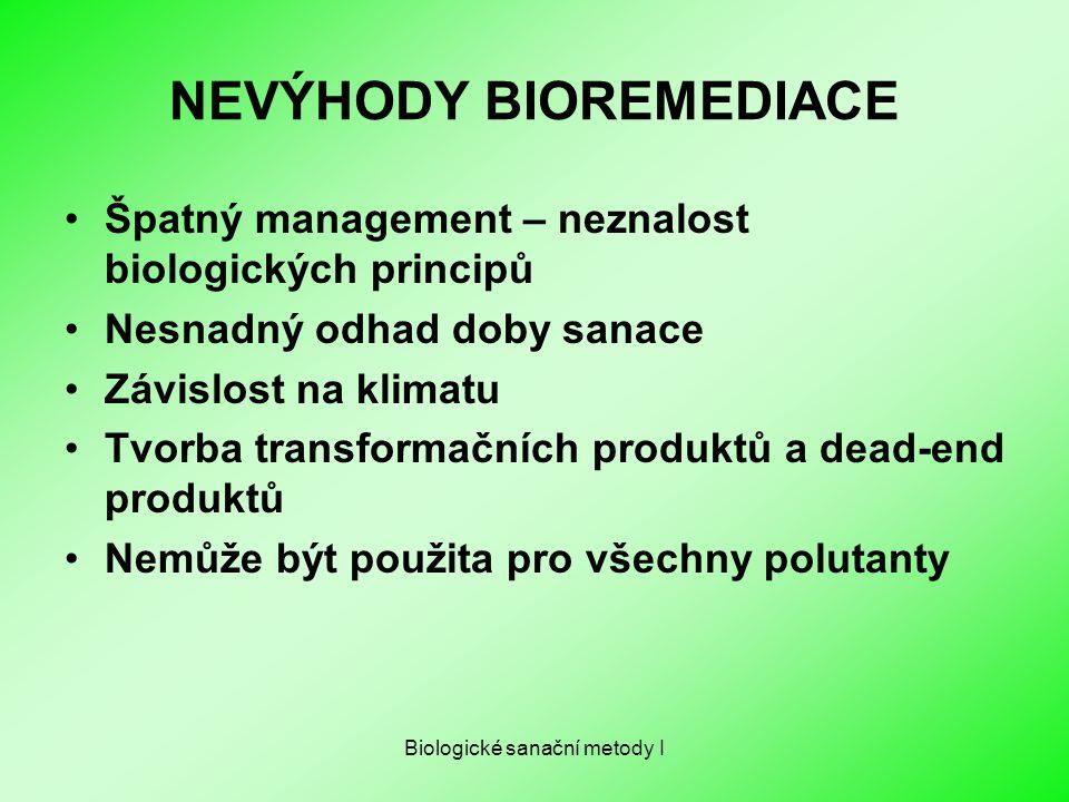 NEVÝHODY BIOREMEDIACE