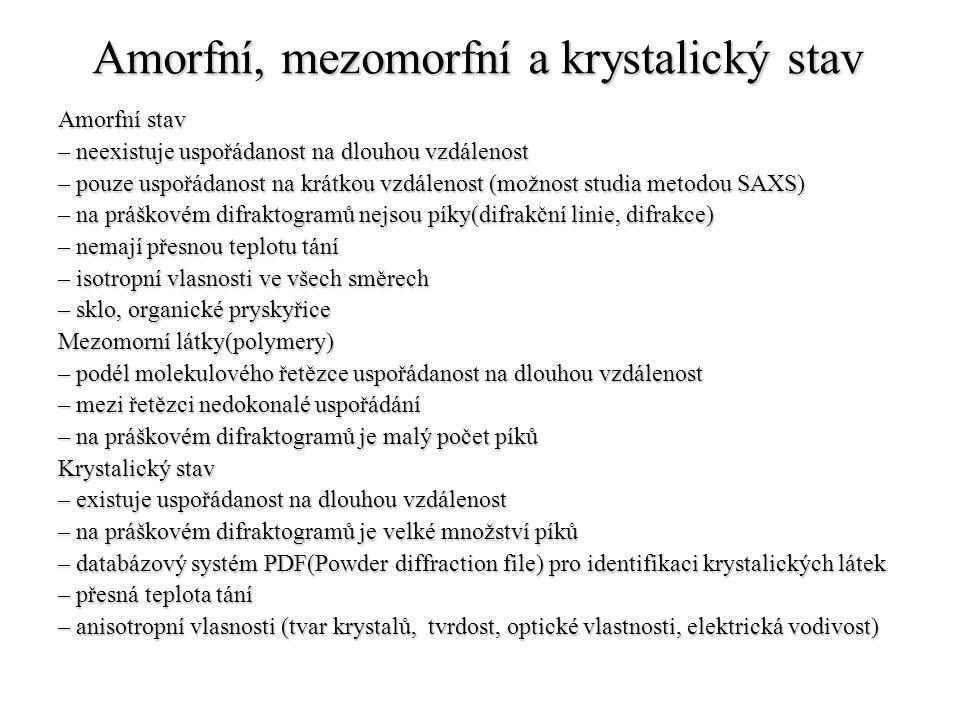 Amorfní, mezomorfní a krystalický stav