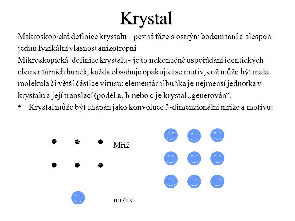 Krystal Makroskopická definice krystalu – pevná fáze s ostrým bodem tání a alespoň. jednu fyzikální vlasnost anizotropní.