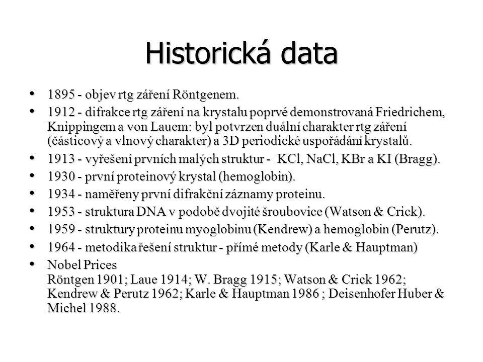 Historická data 1895 - objev rtg záření Röntgenem.
