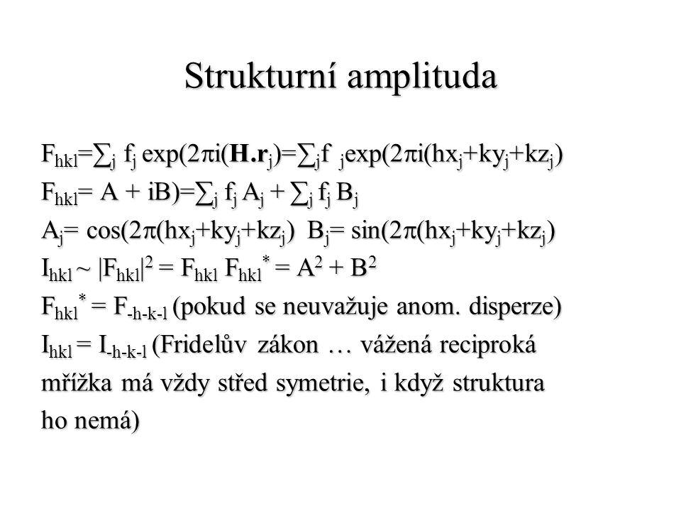 Strukturní amplituda Fhkl=∑j fj exp(2pi(H.rj)=∑jf jexp(2pi(hxj+kyj+kzj) Fhkl= A + iB)=∑j fj Aj + ∑j fj Bj.