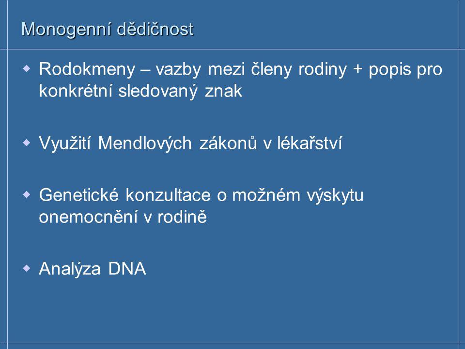 Monogenní dědičnost Rodokmeny – vazby mezi členy rodiny + popis pro konkrétní sledovaný znak. Využití Mendlových zákonů v lékařství.