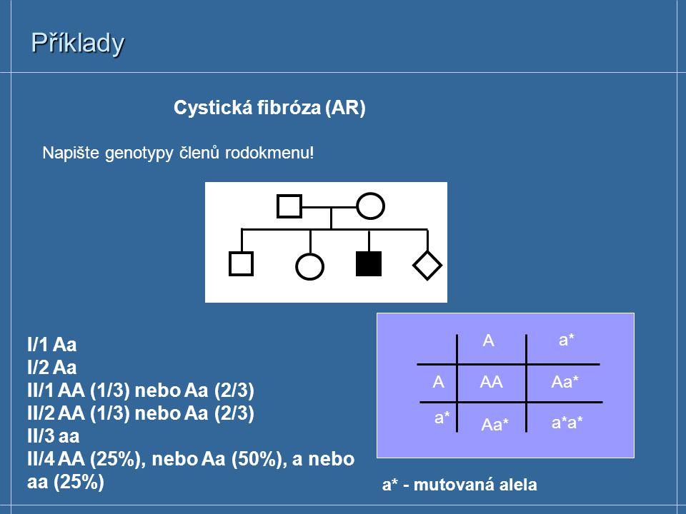 Příklady Cystická fibróza (AR) I/1 Aa I/2 Aa