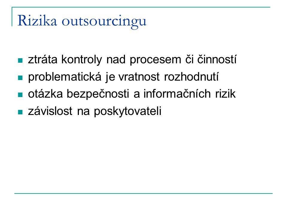 Rizika outsourcingu ztráta kontroly nad procesem či činností