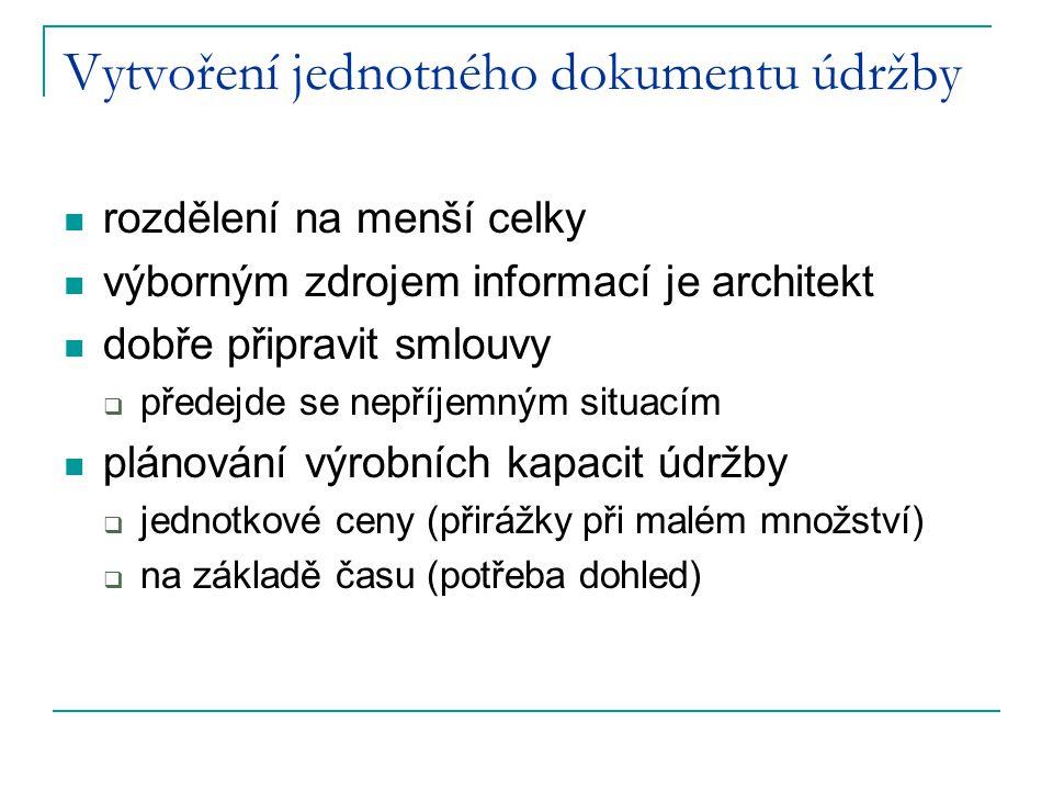 Vytvoření jednotného dokumentu údržby