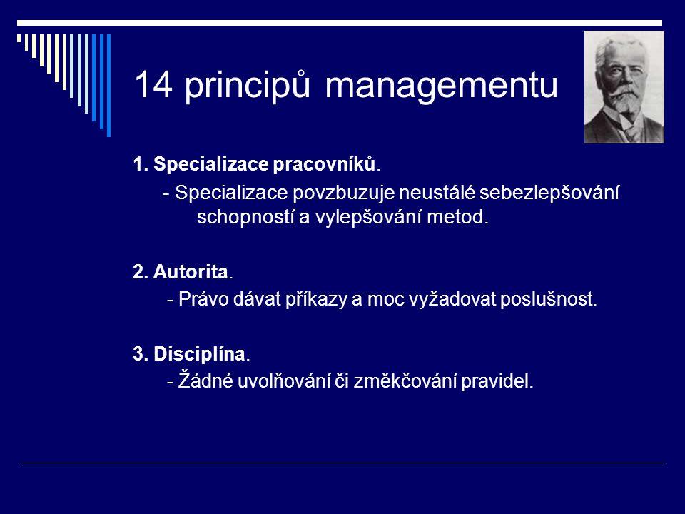 14 principů managementu 1. Specializace pracovníků. - Specializace povzbuzuje neustálé sebezlepšování schopností a vylepšování metod.