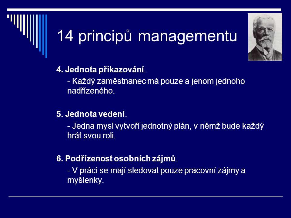 14 principů managementu 4. Jednota přikazování.