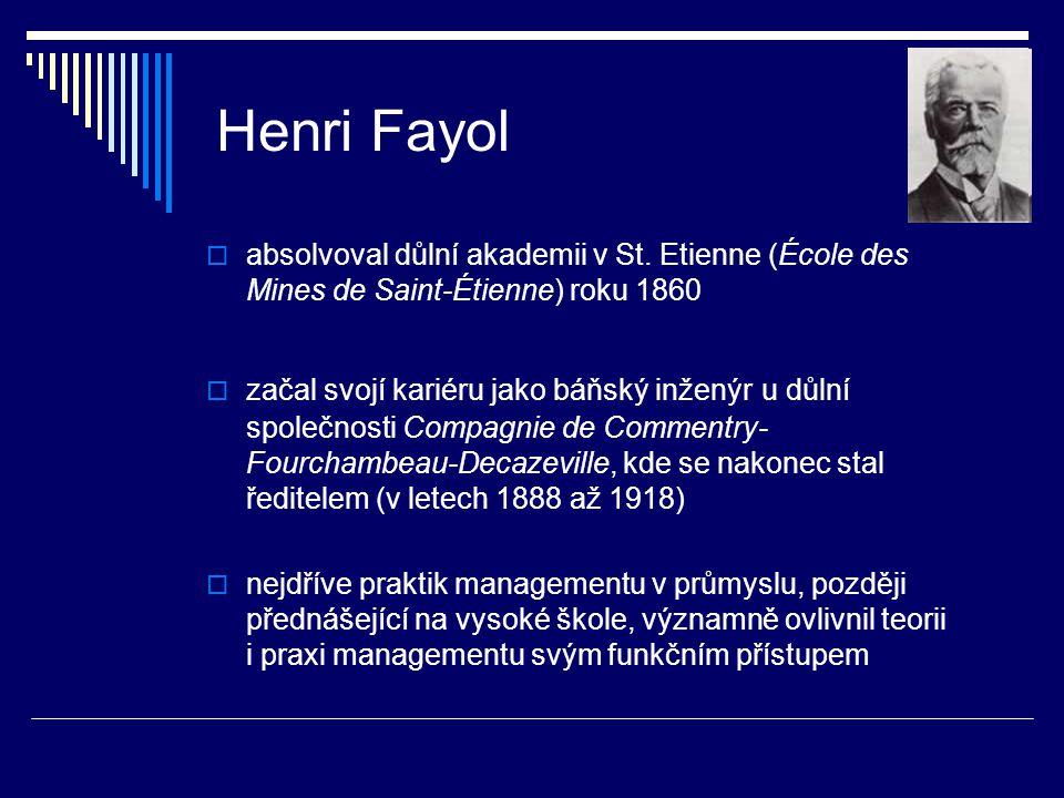 Henri Fayol absolvoval důlní akademii v St. Etienne (École des Mines de Saint-Étienne) roku 1860.